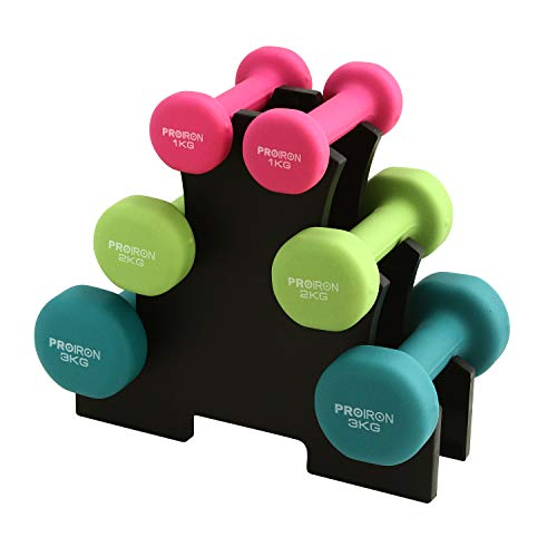 PROIRON Neoprene Dumbbells 12kg Set 3 Pairs Dumbbells of 2 x 1 kg, 2 x 2 kg and 2 x 3 kg with Support