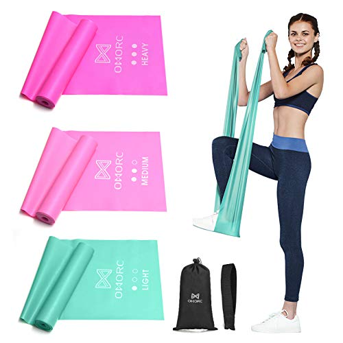 OMORC Resistance Bands, Pilata Bands 3 Set, for Home Workout, Physical Therapy, Yoga, Pilates, Rehab, Long Natural Latex Elastic Workout Bands with Door Anchor, Exercises Guide & Carry Bag