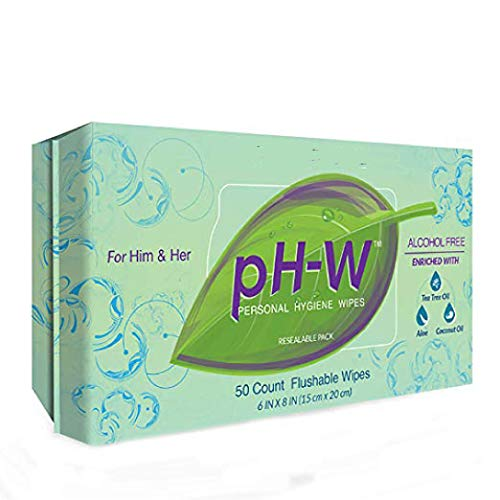 pH-W Personal Hygiene Wipes, Suitable for All Areas of the Body, Flushable, Made in USA, 50 ct Resealable Package