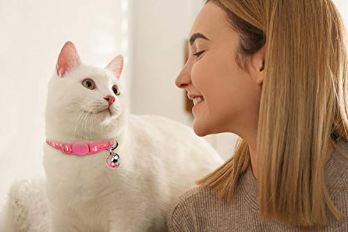 2PCS Breakaway Cat Collars with Bell Moons Stars Cute Kitty Adjustable Safe Kitten Collars with Pendant Glow in The Dark(Purple&Pink)