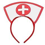 BinaryABC Halloween Costume Accessory,Nurse Hat Headband with Red Cross,Halloween Party Supplies