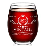AOZITA 50th Birthday Gifts for Women and Men - 15oz Wine Glass - 1970 50th Birthday Decorations for Women - 50th Anniversary Ideas for Her, Mom, Dad, Husband, Wife - 50 Years Gifts
