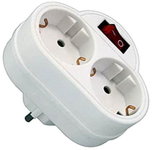 Liyset GZBK01/02 Schuko-Adapter, 2 Steckdosen mit Schalter