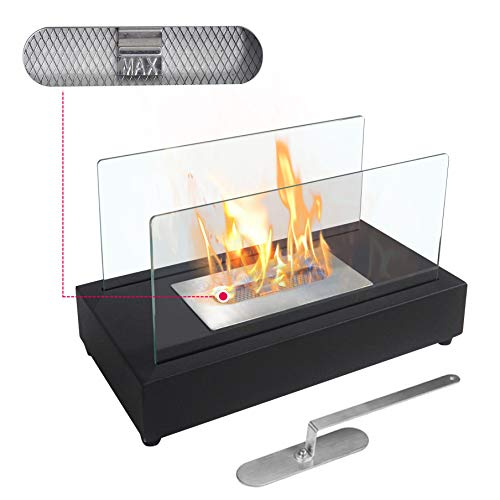 Rectangle Tabletop Bio Ethanol Fireplace Indoor Outdoor Fire Pit Portable Fire Bowl Pot Fireplace in Black, Realistic Burning