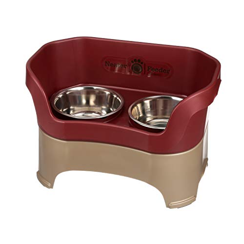 Neater Feeder Deluxe Large Dog (Cranberry) - The Mess Proof Elevated Bowls No Slip Non Tip Double Diner Stainless Steel Food Dish with Stand