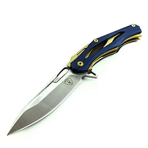 AUBEY EDC Klappmesser Taschenmesser Silber Einhandmesser Outdoor Survival Messer Folder Pocket Knife mit Clip Flipper Kugellagern (Blau)