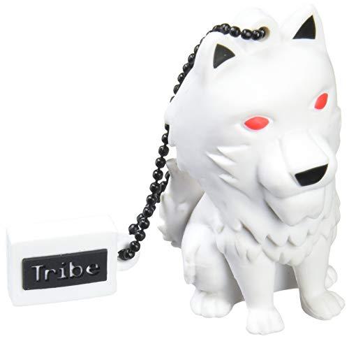 Tribe Game of Thrones (Juego de Tronos) Direwolf - Memoria USB 2.0 de 16 GB Pendrive Flash Drive de Goma con Llavero, Color Blanco