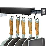 SOLEJAZZ Pot Holder Bar Rack Cintre pour ustensiles de cuisine avec 5 crochets réglables, organisation et stockage de garde-manger amovibles, noir