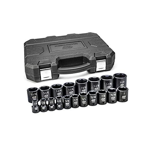 GEARWRENCH 19 Pc. 1/2' Drive 6 Pt. Standard Impact Socket Set, SAE - 84932N