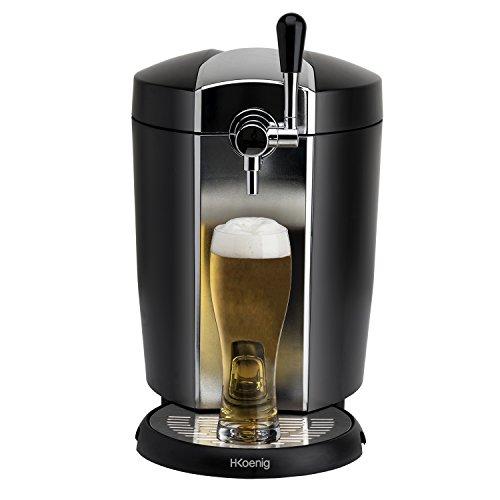 H.Koenig BW1778 Dispensador de Cerveza, Universal 5 L y Barril Heineken, Potencia 65 W, Sistema Refrigeración Integrado, Acero Inoxidable, Negro, 26 x 34 x 40 Cm, 5 litros