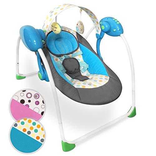 Babyschaukel mit Spielbogen und Musikfunktion - zusammenklappbar, mit 5-Punkt-Sicherheitsgurt und 8 Melodien, in verschiedenen Farben verfügbar - Babywippe Schaukelwippe Wippe (Blau)