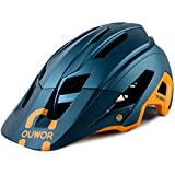 Road & Mountain Bike MTB Helmet for Adult Men Women Youth, with Removable Visor and Adjustable Dial (Blackish Green)