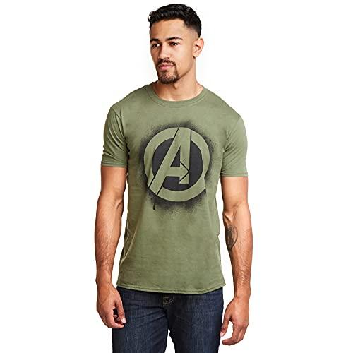 Marvel T-Shirt Stencil Logo Military Green L