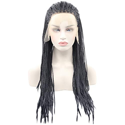 BeautySum Synthetic Lace Front Wigs for Black Women Box Braid Crochet Natural Hairline Long Straight Black Natural Looking for Afro African American with Bangs Combs Clips Natural Hairline Heat