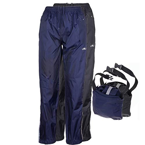 CMP Regenhose Damen I wasserdicht ungefüttert Packaway in Hüfttasche I blau schwarz I Überziehhose 3000 mm Wassersäule mit Beutel Rebekara, Farbe:Nero, Größe:40