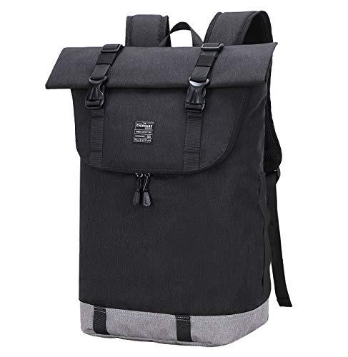 EverVanz Laptop-Rucksack, Damen & Herren Roll Top Wasserdichter Wanderrucksack, Leichter, Lässiger Rucksack, Stylische Schultasche