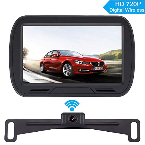 Yakry HD Digital Wireless Backup Camera System for RV/Cars/Trailers/Truck 5'' Monitor Kit Rear/Front View Camera Reverse/Continous Use Guide Lines ON/Off IP69 Waterproof