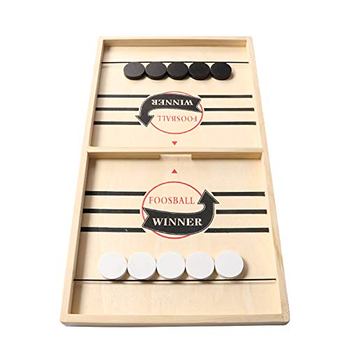 Large Sling Puck Game, Foosball Winner Board Game, Wooden Hockey Table Game, Slingshot Game Board, Super Winner Speed Puck Game for Adults, Large Size