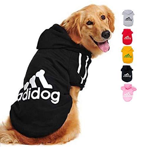 Ducomi Adidog Hunde Hoodie Kapuzenpullover aus weicher Baumwolle XS bis 8XL Versand aus DE (3XL, Schwarz)