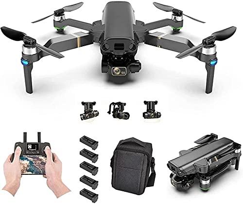 JJDSN Drone GPS con Fotocamera 8K per Adulti, Video HD 1080P Gimbal a 3 Assi Ritorno Automatico a casa Seguimi Quadricottero RC Pieghevole con batterie e Custodia per Il Trasporto