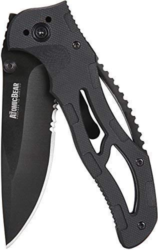 The Atomic Bear Folding Knife with Half Serrated Stainless Steel...