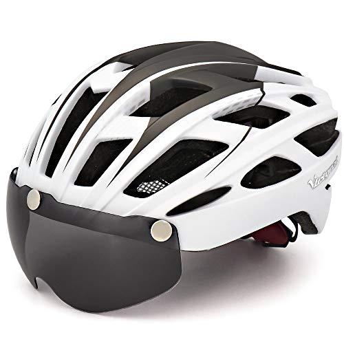 VICTGOAL 自転車 ヘルメット 大人用 LEDライト付きサイクルヘルメット 磁気ゴーグル 防虫ネット ロードバイク