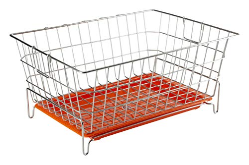 Embassy Dish Draining Basket/Kuda with Drip Tray, Rectangle, 53x42x25 cms (LxBxH), Size - Small...