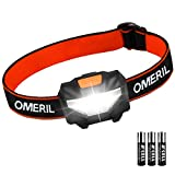 OMERIL Lampe Frontale Puissante, Torche Frontale LED 140 LM, 3 Modes...