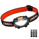 OMERIL Lampe Frontale Puissante, Torche Frontale LED 140 LM, 3 Modes d'Eclairage, Réglable, Poids...