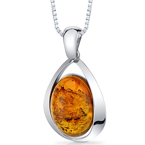Baltic Amber Large Pendant Necklace Sterling Silver Cognac...