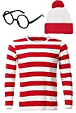 Riekinc Where's Waldo Costume Kids Stripe T-Shirt Halloween Costume Kids X-Small