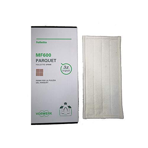 MarelShop - Confezione 3 Panni pulizia parquet originali Vorwerk Per pulilava Folletto SP600/600S