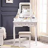 Unihome Vanity Table White Makeup Table with Mirror and Drawers Bedroom Dressing Table for Women