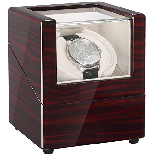 CHIYODA Uhrenbeweger für eine Uhr Watch Winder Automatischer Uhrenbox mit leisem Mabuchi Motor und 12 Rotationsmodi, Batteriebetrieben oder Netzteil, Holz