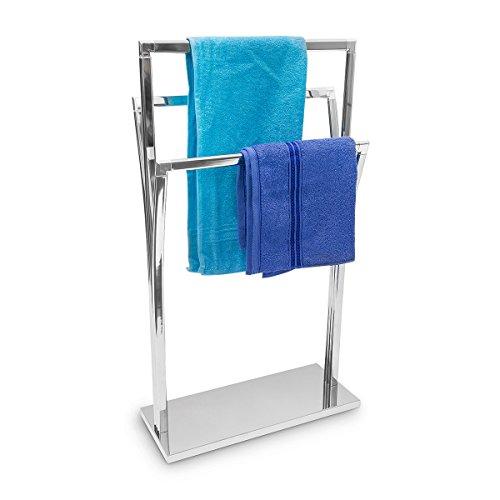Relaxdays 10019257  porte-serviettes sur pied en inox 3 tringles 86 x 50 x 20 cm à poser avec surface chromée 3 barres au design style moderne, gris argenté