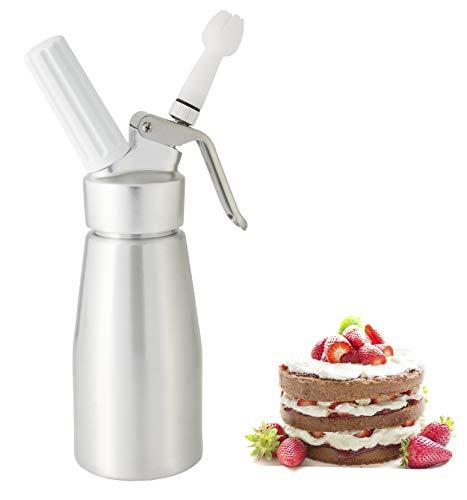 noscobar Sahnespender 250ml | Schlagsahne und Cremes für Desserts und Gebäck | Profi-Küchenhelfer | inklusive 3 Deko-Tüllen