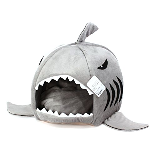 spexpet Grey Shark Bed for Small Cat Dog Cave Bed...