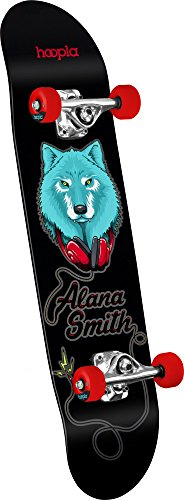hoopla skateboards Alana Smith Wolf Shape 191 Complete Skateboard, 7.5' x 28.65', Black