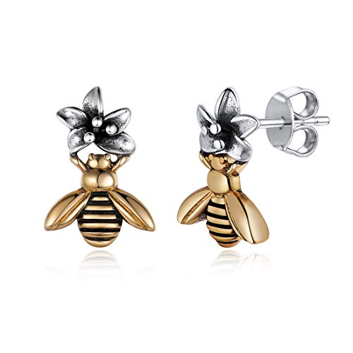 925 Sterling Silver & Brass Bee Flower/Sacred Heart/Chain Stud Earrings Bohemian Stylish Jewelry For Women Men Daughter Boys Christmas/Mother's Day Gift