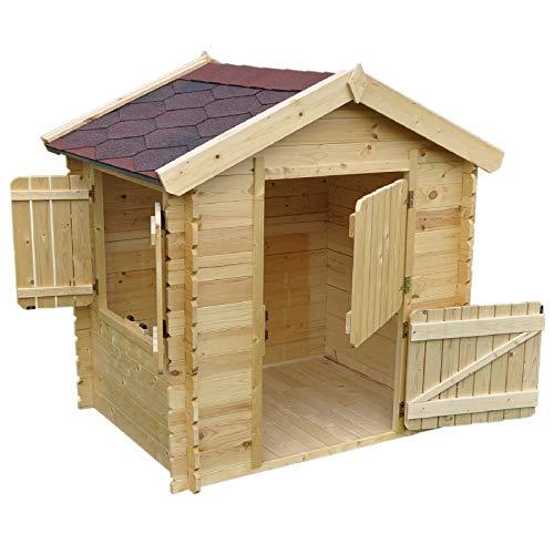 Gartenpirat Kinderspielhaus Blockbohlenhaus Björn Natur 105x130cm aus 19 mm Blockbohlen