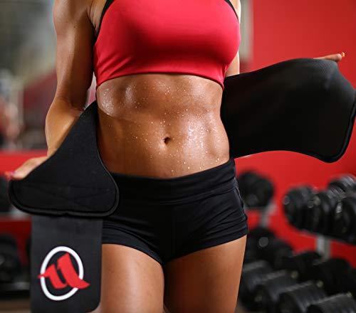 "Fitru Waist Trimmer Sauna Ab Belt for Men & Women - Waist Trainer Stomach Wrap (Black, 10"" X 50"") 9"