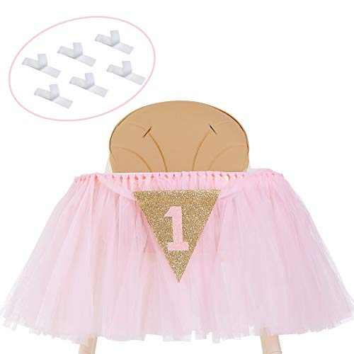 1st Birthday Girl Decoration High Chair Tutu Skirt Banner No.1 - Cake Smash 1st Birthday Decorations for Baby Girls - First Birthday Banner Highchair Centrepiece in Baby Pink and Gold Princess Theme
