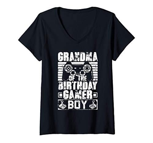 Womens Grandma of the Birthday Boy Matching Video Game Birthday V-Neck T-Shirt