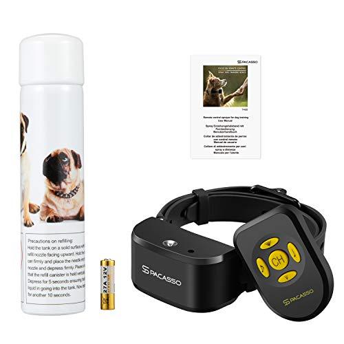 Pacasso 2019 Neu Ferntrainer Anti-Bell Halsband mit Spray, Erziehungshalsband für Hunde, Fernbedienung + automatische Sprühfunktion, Citronella Spray, Wasserfest, Wiederaufladbar, 2 Kanäle möglich