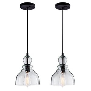 Lanros Industrial Mini Pendant Lights with Handblown Clear Seeded Glass Shade, Adjustable Bell Pendant Lighting for Kitchen Sink, Kitchen Island, Dining Room, Bars and Shops, 2-Pack
