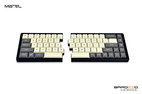 Mistel MD650L Ergonomic Split Mechanical Keyboard Cherry ML Switch (Milk/Gray Two Tone Dye-Sub ABS ALPS Low Profile Keycaps, CNC Aluminum Black Case, ANSI/US, Programable Macro/Remapping)