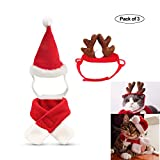 fast and good Cat Santa Christmas Hat + Muffler + Elk Antler Reindeer Hat, Head Wear Accesories Christmas Costume Outfits for Pet Dog Cat Rabbit(Pack of 3)