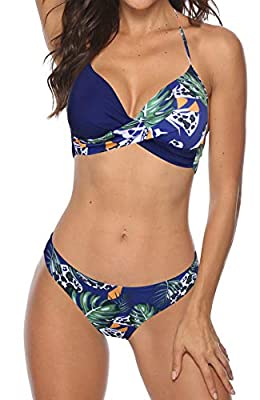 Smooth fabric bikini swimsuit sets are very stretchy, comfortable and durable. Wash Cold, Hang Dry Style: Cute and sexy ; Stylish . Top with underwire push up padded bra, Twist bandeau bikini top , Halter neck ,Floral printed patchwork style, Low wai...