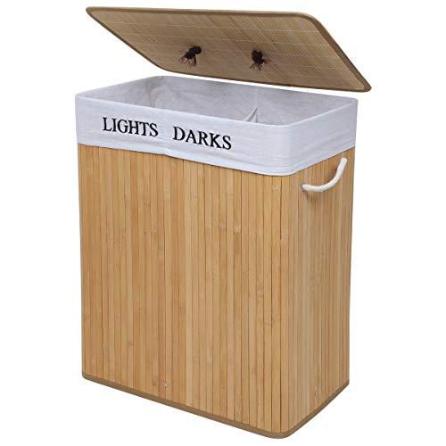 Meerveil Bambus Wäschekorb faltbar mit Deckel, 100L Wäschebox mit 2 Fächern, Wäschesammler mit abnehmbare Wäschesack aus Baumwolle, Natur