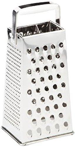 Leifheit Vierkantreibe ComfortLine-Serie mit 4 Reibflächen zum feinen/groben Reiben und Schneiden, Küchenreibe aus rostfreiem Edelstahl, Kunststoff-Einsatz am Griff der Reibe für sicheren Halt